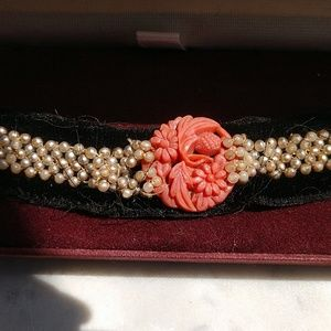 Antique Carved Coral & Seed Pearl Velvet Choker